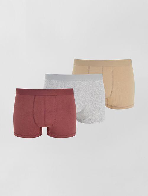 Lot de 3 boxers éco-conçus size+                                                                 beige/gris/violet