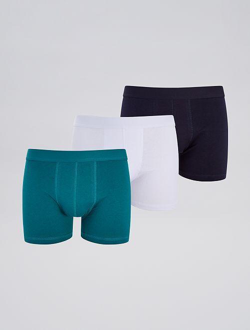 Lot de 3 boxers éco-conçus                                                                                                     vert/blanc/marine