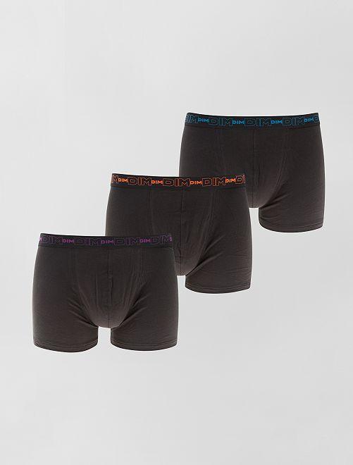 Lot de 3 boxers en coton stretch de 'DIM'                                                                                                     noir