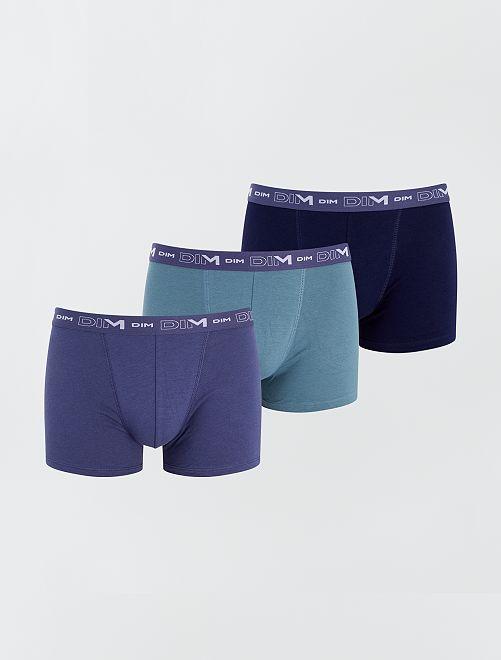 Lot de 3 boxers en coton stretch de 'DIM'                                                                             vert/bleu/marine