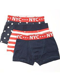 Garçon 10-18 ans Lot de 3 boxers en coton stretch imprimé 'drapeaux'