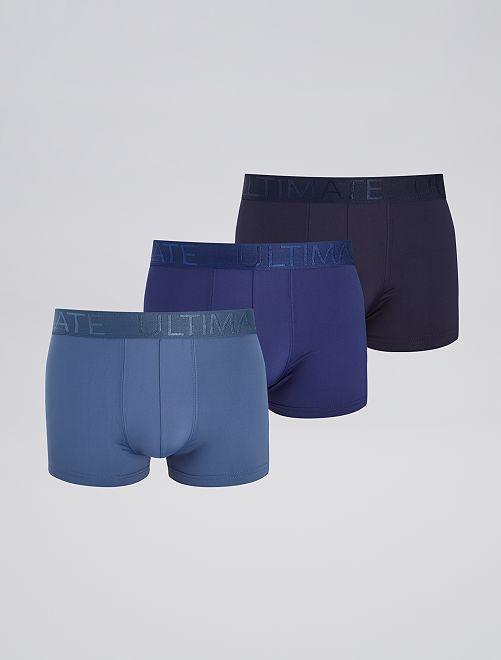Lot de 3 boxers en microfibre                                         bleu