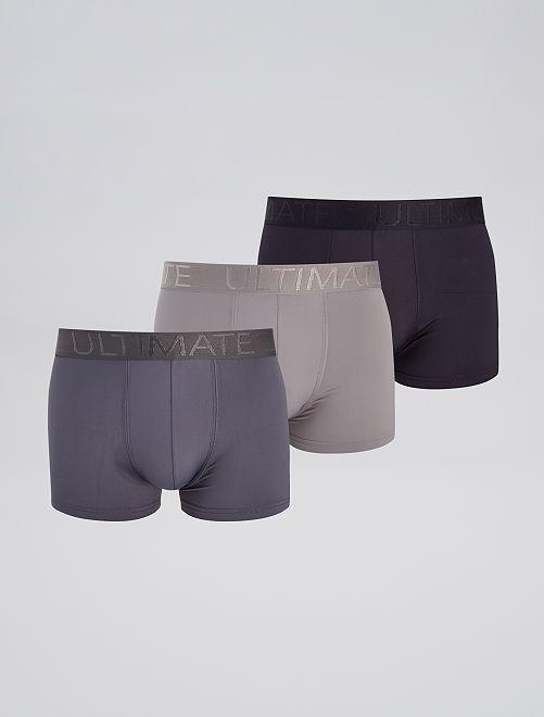 Lot de 3 boxers en microfibre                                         noir/gris