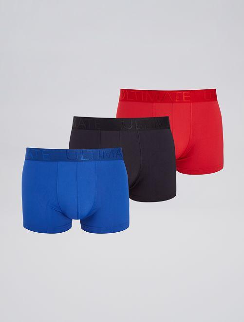 Lot de 3 boxers en microfibre                                                     rouge/noir