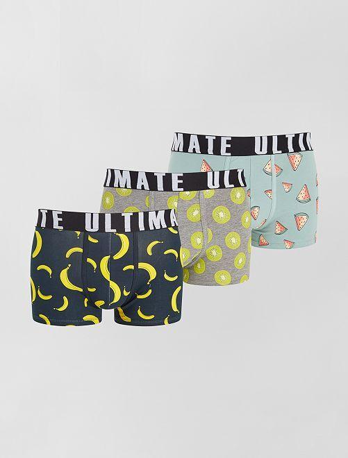Lot de 3 boxers fantaisie                                                                                         bleu/gris/fruits