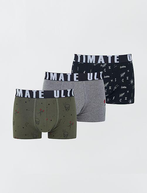 Lot de 3 boxers fantaisie                                                                                         noir/gris/kaki