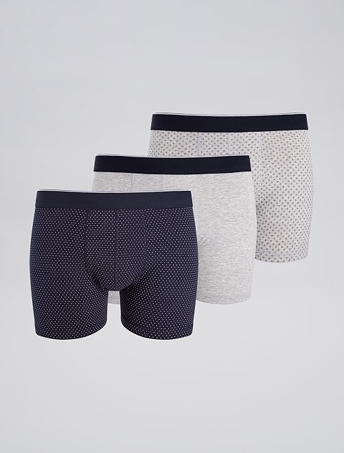 Lot de 3 boxers fantaisies                                                                                                     bleu pois/gris