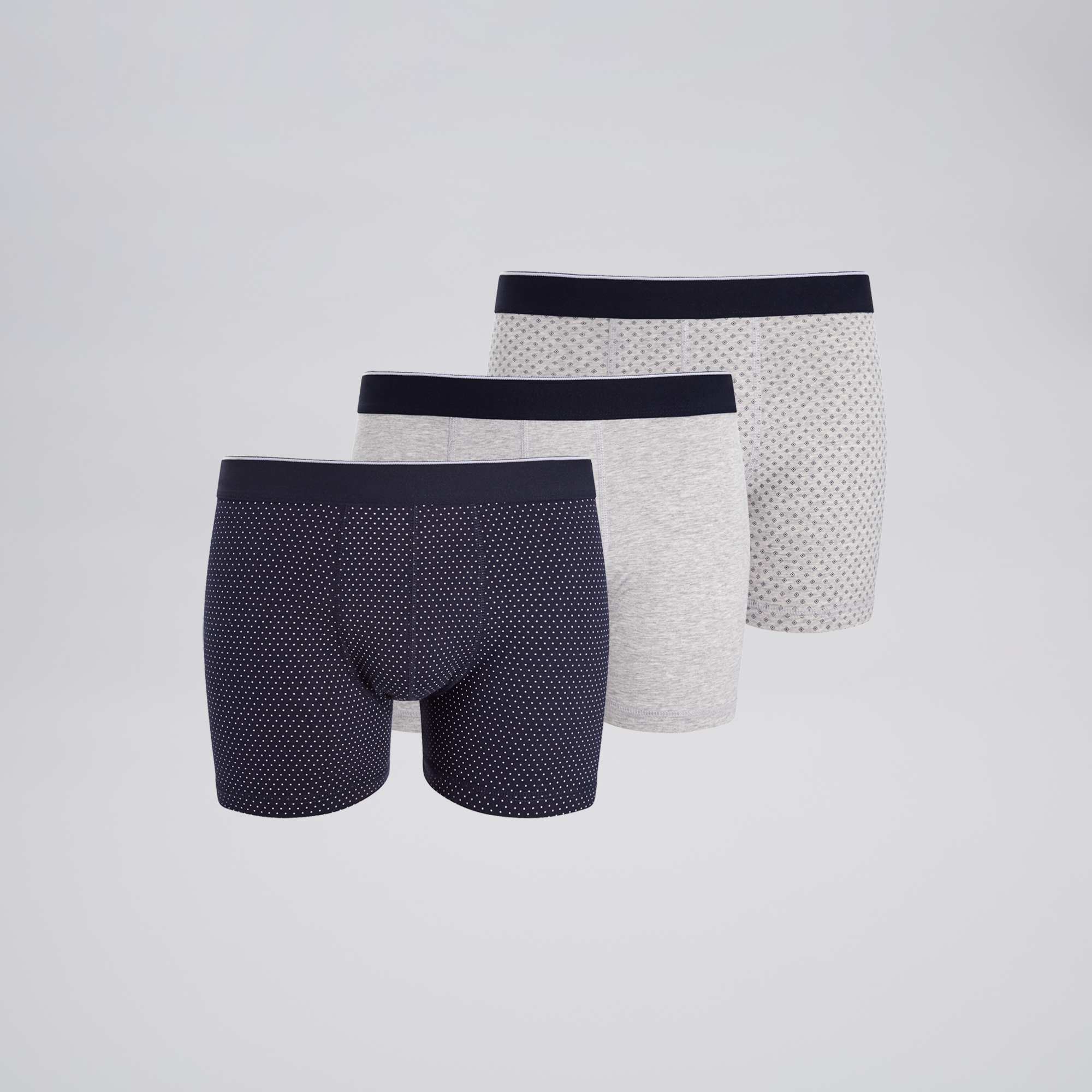 lot de 3 boxers fantaisies homme bleu pois gris kiabi. Black Bedroom Furniture Sets. Home Design Ideas