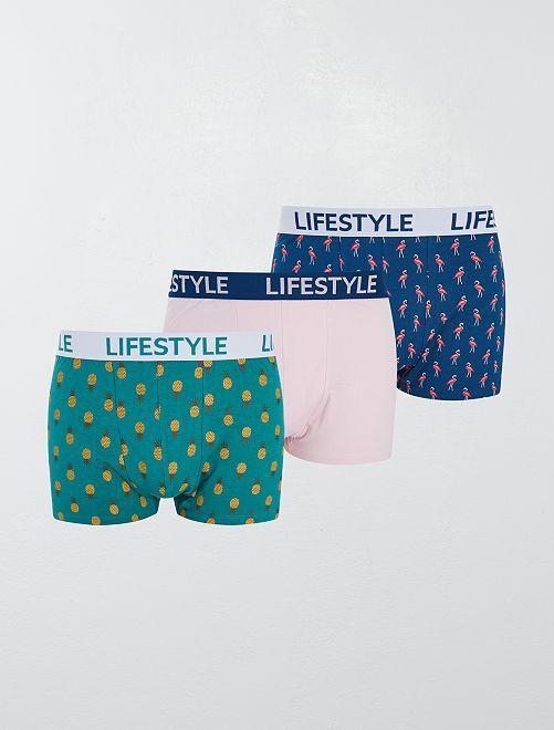 Lot de 3 boxers fantaisies                             bleu rose vert