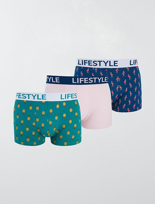 Lot de 3 boxers fantaisies                                         bleu vert rose