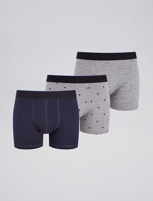 Lot de 3 boxers fantaisies                                                                                                                 bleu/gris