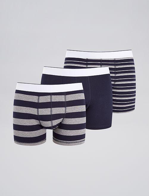 Lot de 3 boxers fantaisies                                                                                                                 gris/ bleu rayé Homme