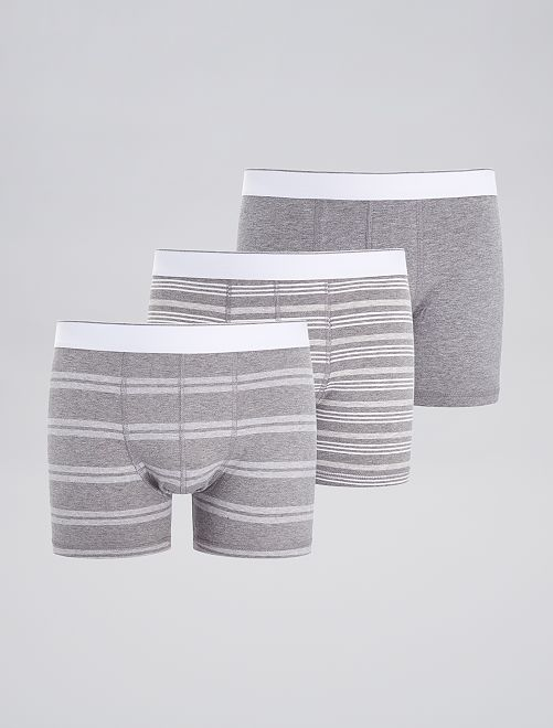 Lot de 3 boxers fantaisies                                                                                                                 gris rayé