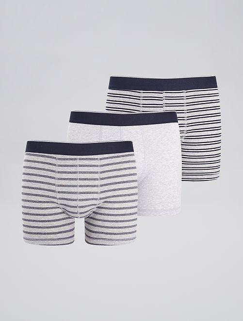 Lot de 3 boxers fantaisies                                                                                                                 gris rayé noir Homme