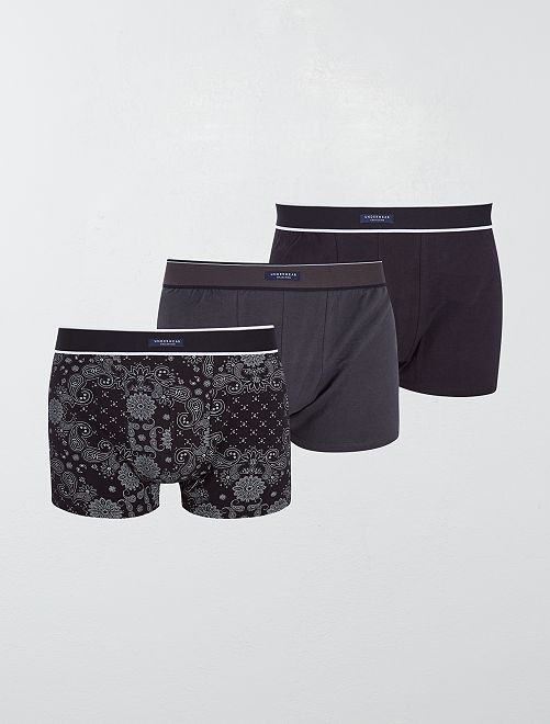 Lot de 3 boxers fantaisies                                         noir gris