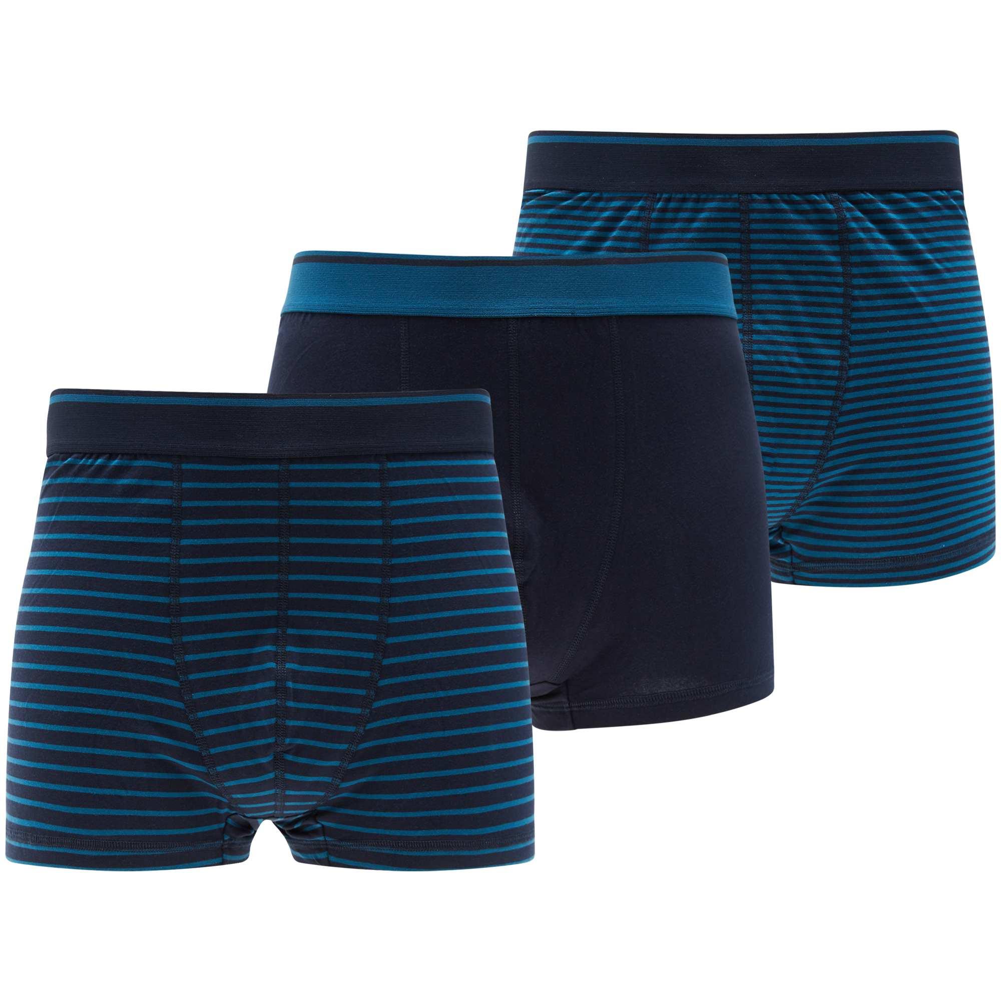 Couleur : bleu gris, , ,, - Taille : 6XL, , ,,Du coton stretch + un ceinture large élastiquée : confort assuré ! - Lot de 3 boxers