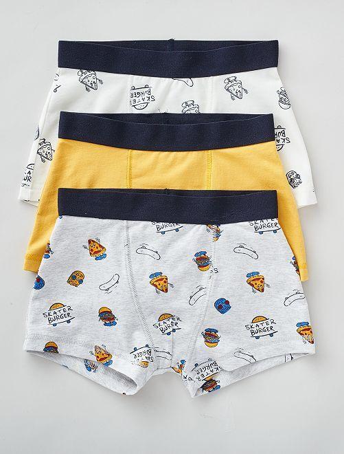 Lot de 3 boxers                                                                                                                                                                                                                                                                             gris/jaune/blanc