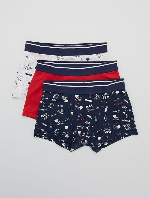 Lot de 3 boxers                                                                                                                                                                                                                                                                                                                                                     gris/rouge/marine