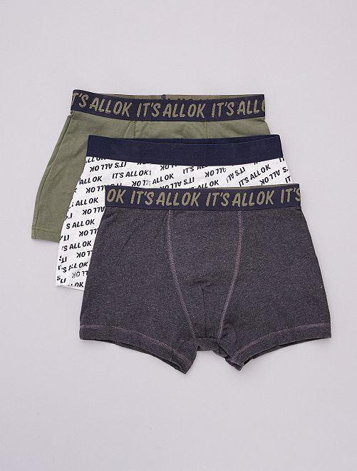Lot de 3 boxers                                                                 gris/texte/kaki