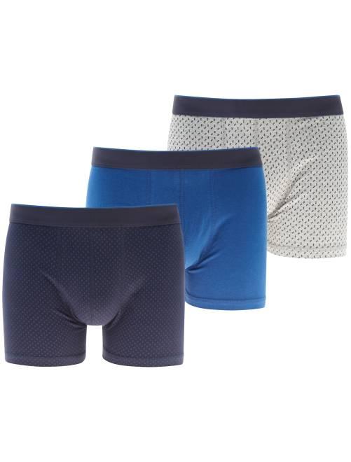 Lot de 3 boxers imprimés                                         bleu