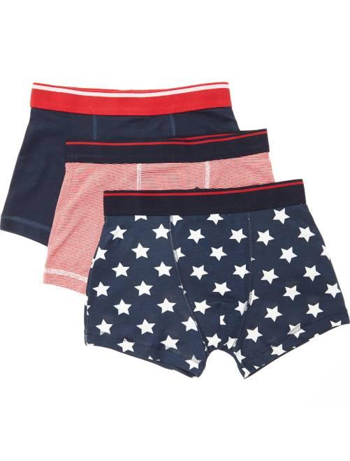 Lot de 3 boxers imprimés 'drapeaux USA'                             bleu/rouge