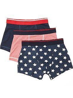 Sous-vêtement - Lot de 3 boxers imprimés 'drapeaux USA' - Kiabi