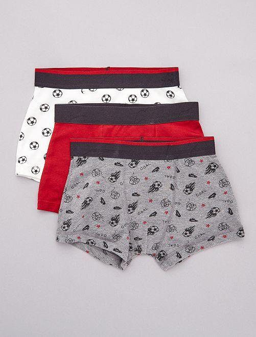 Lot de 3 boxers imprimés 'Foot'                             rouge/gris/blanc