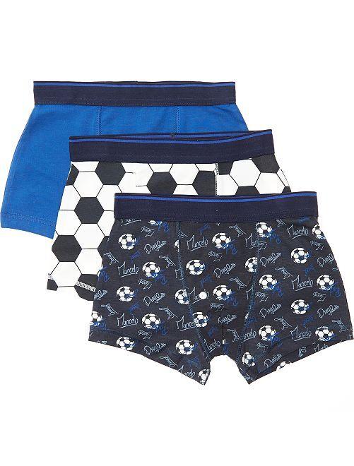 Lot de 3 boxers imprimés 'football'                             bleu marine/bleu/blanc
