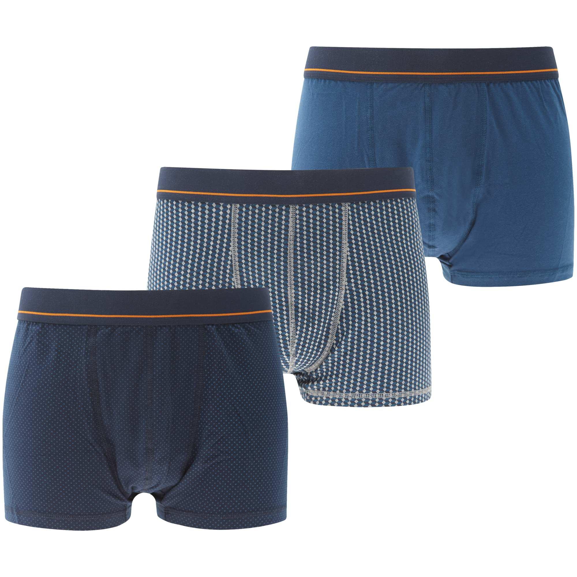 Couleur : bleu marine/bleu canard, bleu canard/gris chiné, ,, - Taille : 6XL, 4XL, 5XL,3XL,Imprimés géométriques discrets et chics pour ces boxers en coton. - Lot de 3 boxers