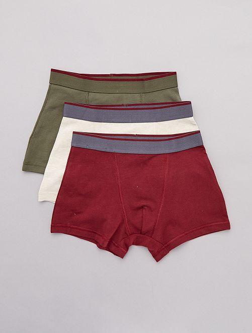 Lot de 3 boxers imprimés                                                                 kaki/beige/bordeaux