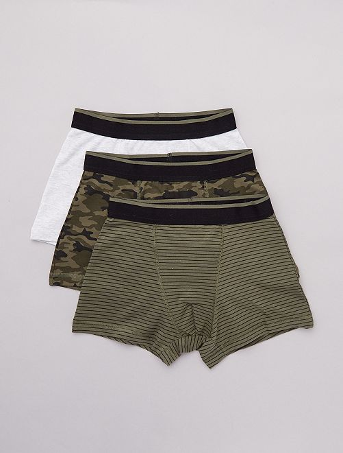 Lot de 3 boxers imprimés                                                                 kaki/gris chiné Garçon adolescent