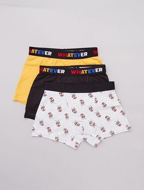 Lot de 3 boxers imprimés                                                                 noir/jaune/gris Garçon adolescent
