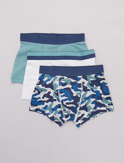 Lot de 3 boxers                             kaki/bleu