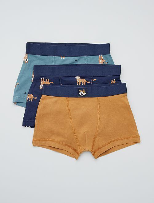Lot de 3 boxers                                                                                                                                                                                                                                                                                                                                                     marine/camel/vert