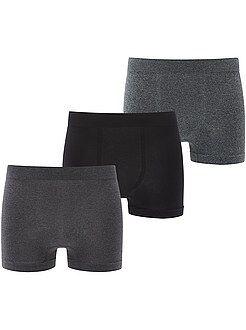 Sous-vêtements - Lot de 3 boxers microfibre sans couture - Kiabi