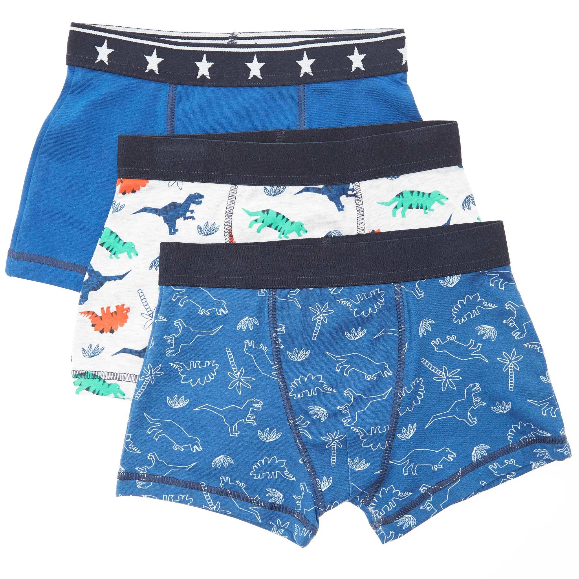 Couleur : bleu, , ,, - Taille : 8A, 12A, 10A,,Des dinos partout ! - Lot de 3 boxers - En coton stretch - Taille élastiquée - 2