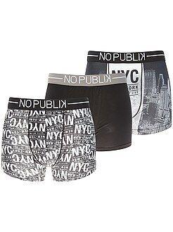 Sous-vêtements - Lot de 3 boxers 'No Publik' - Kiabi