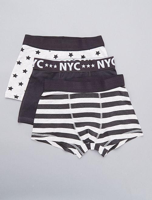 Lot de 3 boxers 'NYC'                             gris