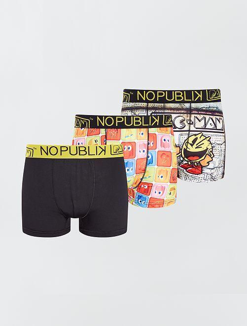Lot de 3 boxers 'Pac-Man' 'No Publik'                             multicolore