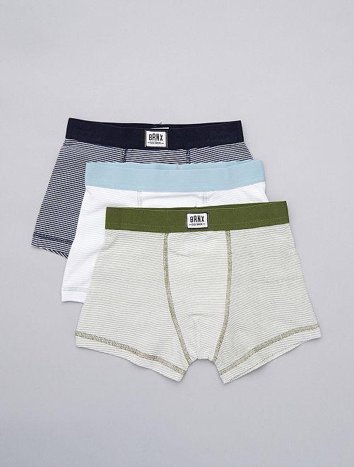Lot de 3 boxers rayés                                         bleu rayé