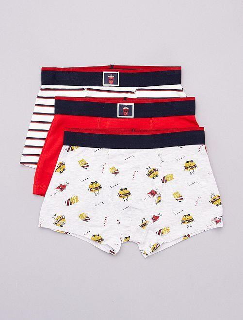 Lot de 3 boxers                                                                                                                             rouge/gris/blanc
