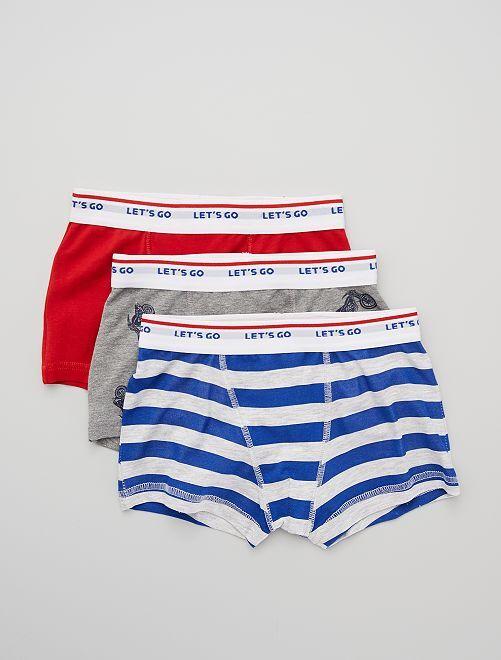 Lot de 3 boxers                                                                                                                                                                                                                                                                                                                                                     rouge/gris/bleu