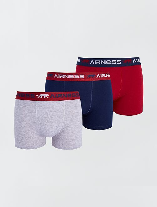 Lot de 3 boxers stretch 'Airness'                             bleu gris rouge