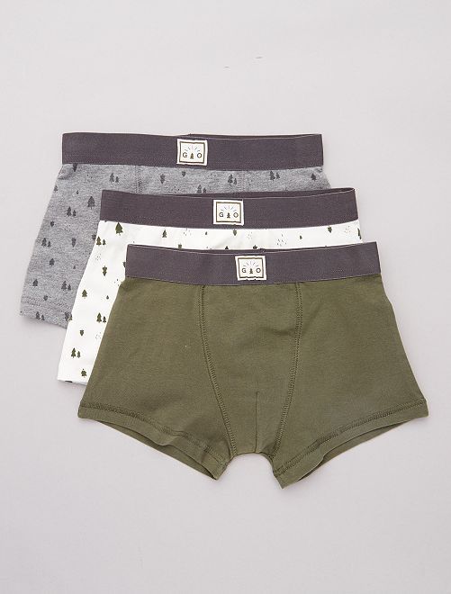Lot de 3 boxers stretch                                                                                                                             gris/kaki