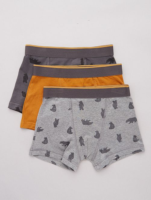 Lot de 3 boxers stretch                                                                                         gris/ocre
