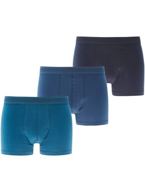 Lot de 3 boxers unis                             bleu Homme