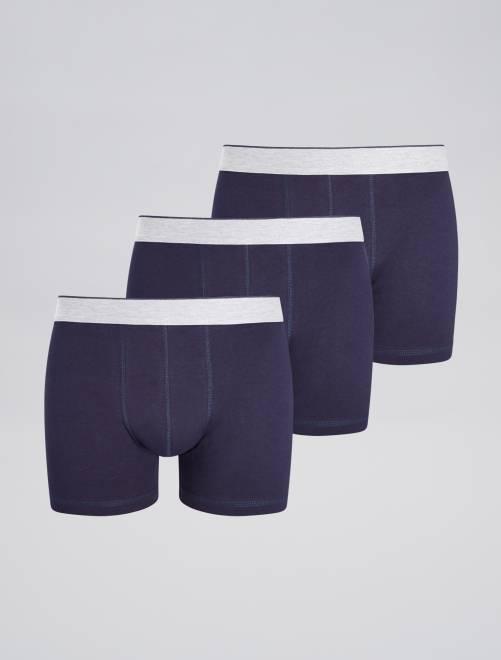 Lot de 3 boxers unis                                                                 bleu