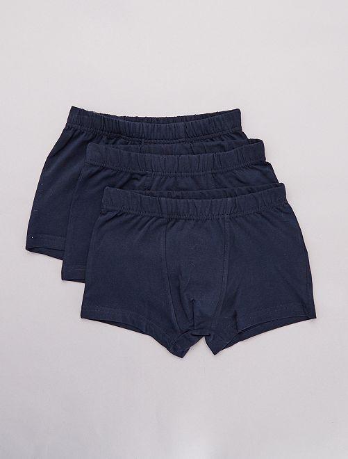 Lot de 3 boxers unis                                         bleu marine Garçon adolescent