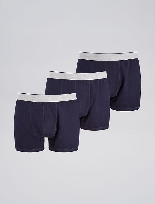 Lot de 3 boxers unis                                                     bleu navy Grande taille homme