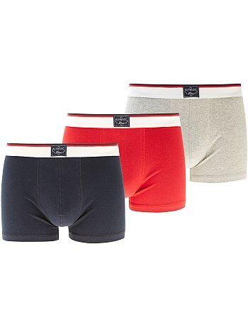 Lot de 3 boxers unis                             marine/rouge/gris Homme